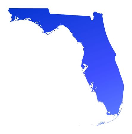 Blue gradient Florida map, USA. Detailed, Mercator projection.