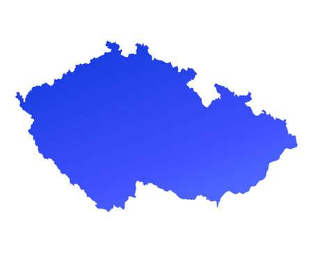 fill: Blue gradient Czech Republic map. Detailed, Mercator projection.