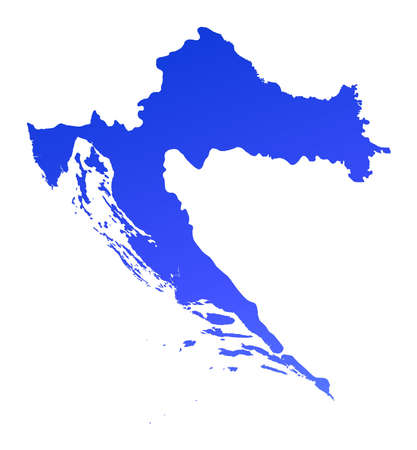 croatia: Blue gradient Croatia map. Detailed, Mercator projection.