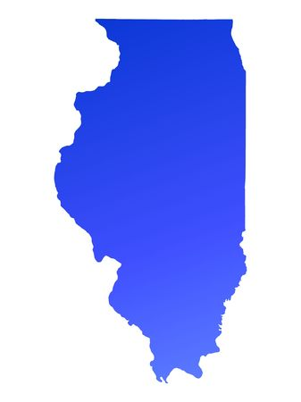 Blue gradient Illinois map, USA. Detailed, Mercator projection.