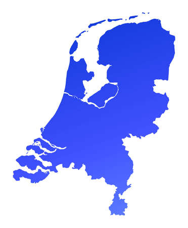 holand: Blue gradient Netherlands map. Detailed, Mercator projection.