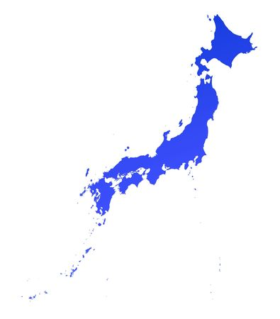 Blue gradient Japan map. Detailed, Mercator projection.