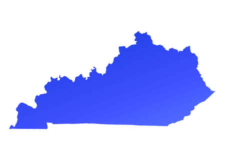 kentucky: Blue gradient Kentucky map, USA. Detailed, Mercator projection.