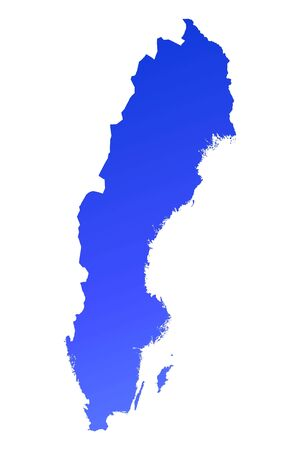 sweden map: Blue gradient Sweden map. Detailed, Mercator projection. Stock Photo
