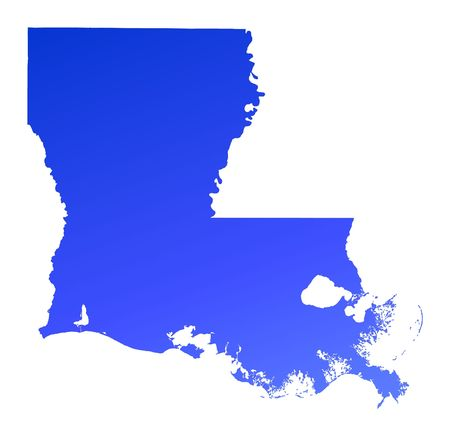 louisiana state: Blue gradient Louisiana map, USA. Detailed, Mercator projection.