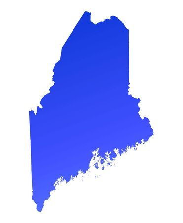 maine: Blue gradient Maine map, USA. Detailed, Mercator projection.