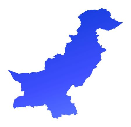 fill: Blue gradient Pakistan map. Detailed, Mercator projection.