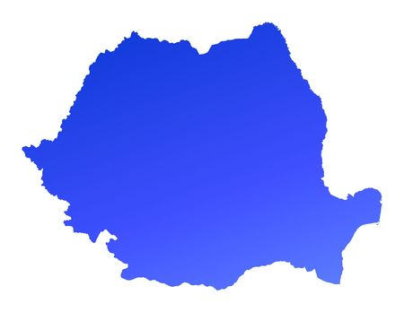 fill: Blue gradient Romania map. Detailed, Mercator projection.