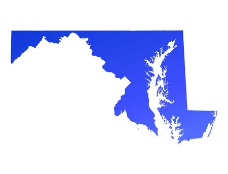 maryland: Blue gradient Maryland map, USA. Detailed, Mercator projection. Stock Photo