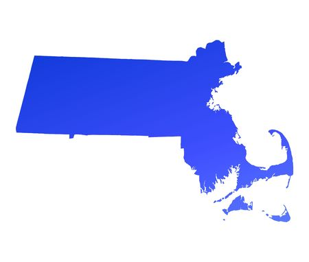 Blue gradient Massachusetts map, USA. Detailed, Mercator projection. Stock Photo