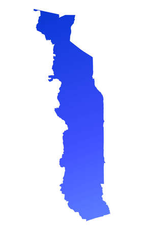 fill: Blue gradient Togo map. Detailed, Mercator projection.