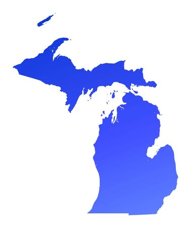 bitmaps: Blue gradient Michigan map, USA. Detailed, Mercator projection. Stock Photo
