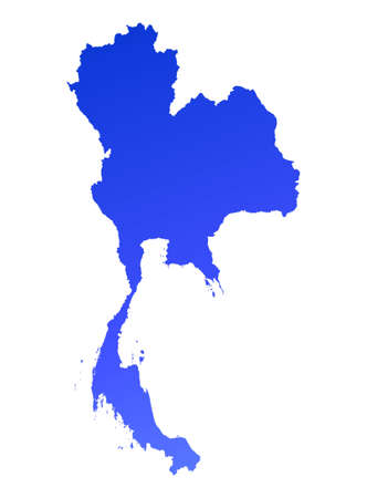 Blue gradient Thailand map. Detailed, Mercator projection. photo