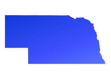 nebraska: Blue gradient Nebraska map, USA. Detailed, Mercator projection.