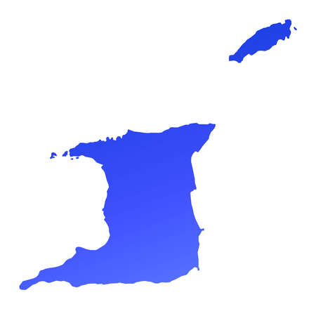 fill: Blue gradient Trinidad and Tobago map. Detailed, Mercator projection.