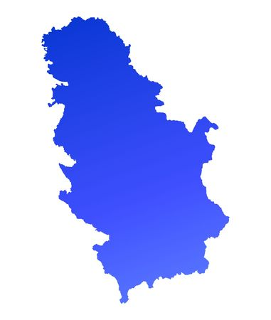 fill: Blue gradient Serbia map. Detailed, Mercator projection.