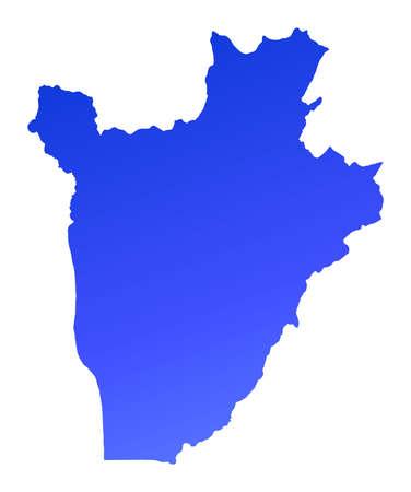 Blue gradient Burundi map. Detailed, Mercator projection. Stock Photo - 2114559