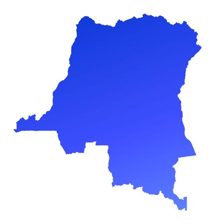 fill: Blue gradient Democratic Republic of the Congo map. Detailed, Mercator projection.