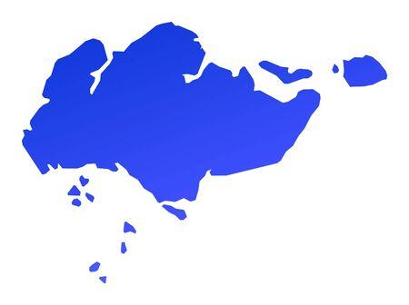 bitmap: Blue gradient Singapore map. Detailed, Mercator projection. Stock Photo