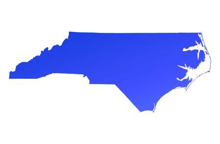Blue gradient North Carolina map, USA. Detailed, Mercator projection.