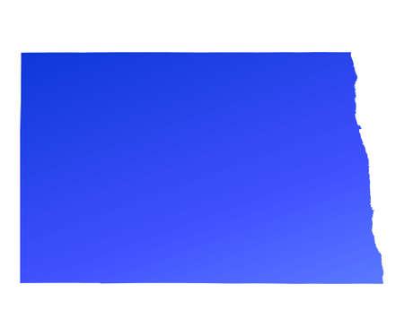 fill: Blue gradient North Dakota map, USA. Detailed, Mercator projection.