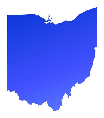 Blue gradient Ohio map, USA. Detailed, Mercator projection.