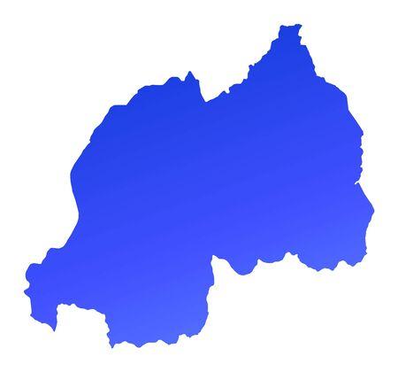 fill: Blue gradient Rwanda map. Detailed, Mercator projection. Stock Photo