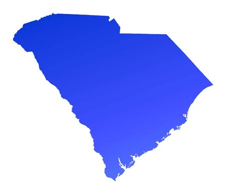mercator: Blue gradient South Carolina map, USA. Detailed, Mercator projection.