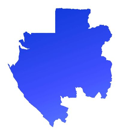fill: Blue gradient Gabon map. Detailed, Mercator projection. Stock Photo