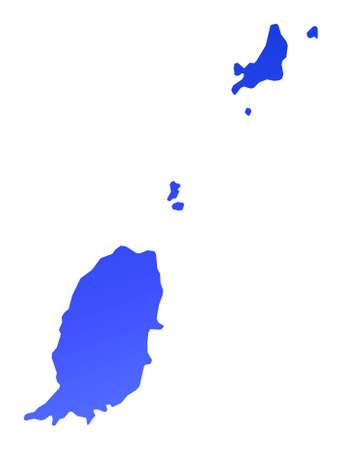 grenada: Blue gradient Grenada map. Detailed, Mercator projection. Stock Photo