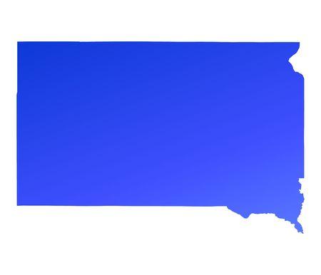dakota: Blue gradient South Dakota map, USA. Detailed, Mercator projection.