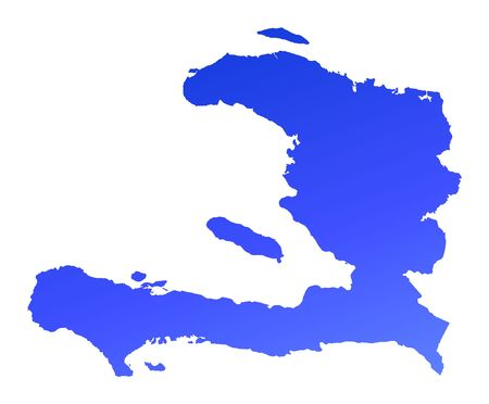 fill: Blue gradient Haiti map. Detailed, Mercator projection. Stock Photo