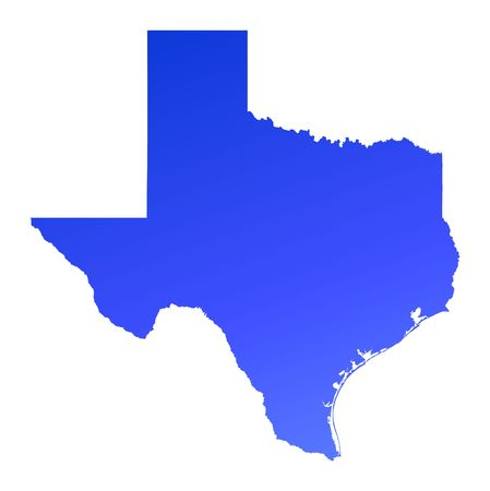 Blue gradient Texas map, USA. Detailed, Mercator projection. Stock Photo