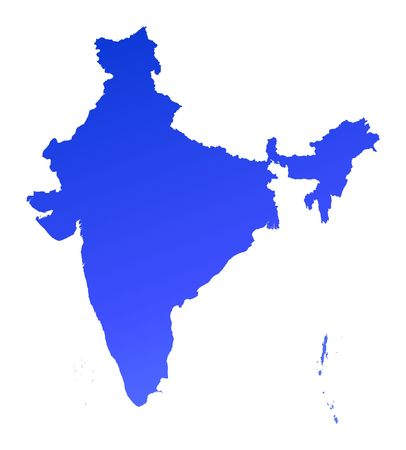 Blue gradient India map. Detailed, Mercator projection. photo