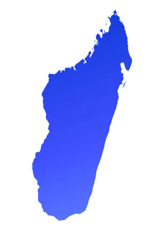 fill: Blue gradient Madagascar map. Detailed, Mercator projection.