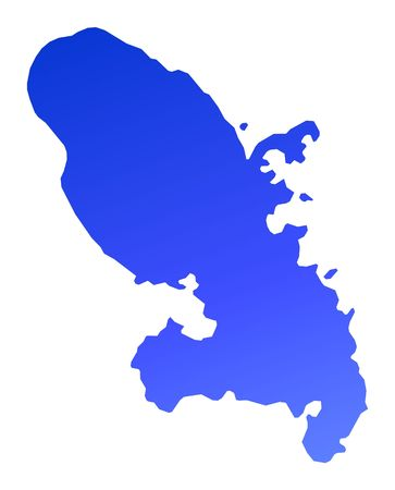 martinique: Blue gradient Martinique map. Detailed, Mercator projection.