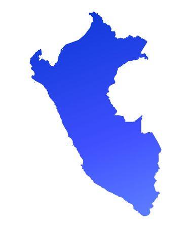peru map: Blue gradient Peru map. Detailed, Mercator projection.