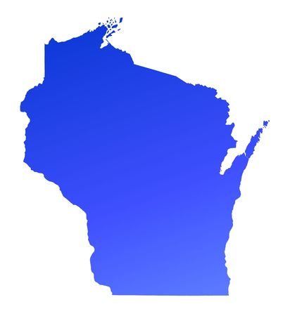 mercator: Blue gradient Wisconsin map, USA. Detailed, Mercator projection.