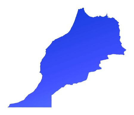 fill: Blue gradient Morocco map. Detailed, Mercator projection.