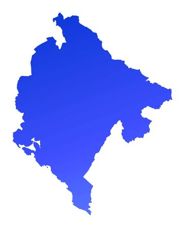 fill: Blue gradient Montenegro map. Detailed, Mercator projection.