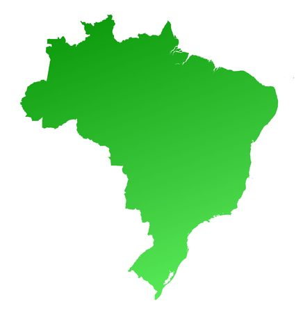 fill: Green gradient Brazil map. Detailed, Mercator projection. Stock Photo