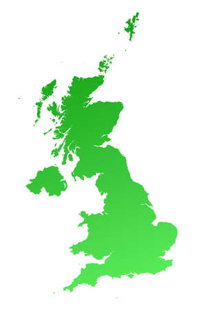 Green gradient United Kingdom map. Detailed, Mercator projection. Stock Photo - 2139501