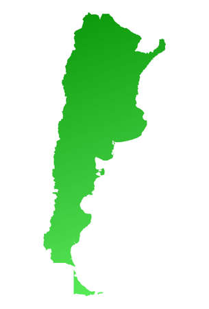 fill: Green gradient Argentina map. Detailed, Mercator projection. Stock Photo