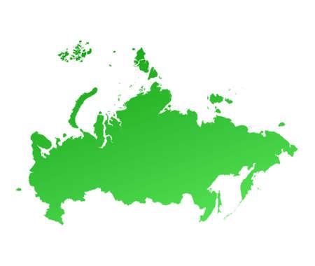 russland karte: Gr�ne Verlaufsumsetzung Russland. Detaillierte, Mercator-Projektion.