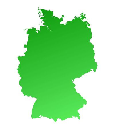 Green gradient Germany map. Detailed, Mercator projection. photo
