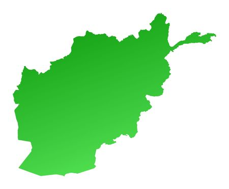 fill: Green gradient Afghanistan map. Detailed, Mercator projection.