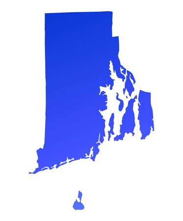 Blue gradient Rhode Island map, USA. Detailed, Mercator projection. photo