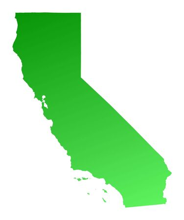 Green gradient California map, USA. Detailed, Mercator projection. Stock Photo