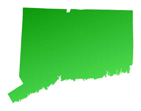 connecticut: Green gradient Connecticut map, USA. Detailed, Mercator projection.