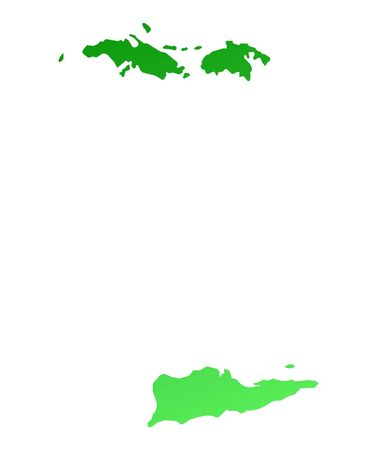 fill: Green gradient Virgin Islands map. Detailed, Mercator projection.